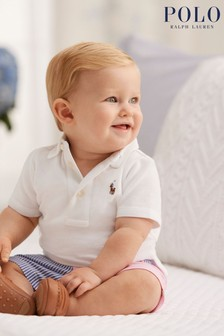 Ralph Lauren Pink Colourblock Shorts And White Polo Set