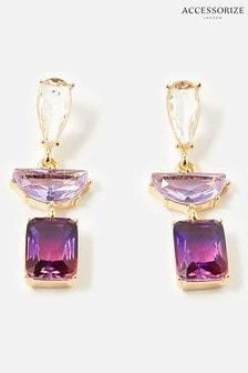 Accessorize Purple Kylie Ombre Gem Drop Earrings