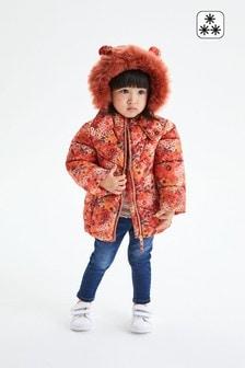 Orange Shower Resistant Floral Padded Jacket (3mths-7yrs)