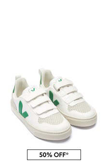 Veja Kids White/Green Leather Velcro Strap Trainers