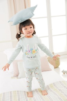 Mint Jersey Rib Pyjama Set With Appliqué Bunny (9mths-8yrs)