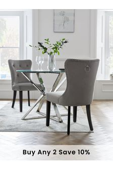Opulent Velvet Steel Set of 2 Blair Dining Chairs With Black Legs
