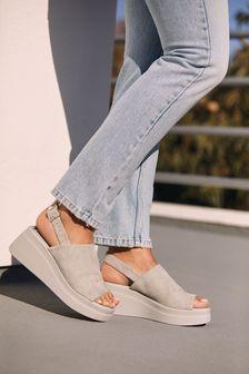 Grey Leather Slingback Flatform Wedges