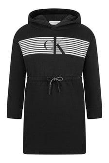 Black Cotton Hooded Dress