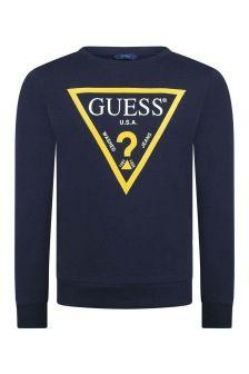 Boys Navy Cotton Logo Sweater
