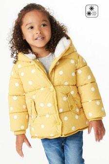 Ochre Yellow Spot Print Shower Resistant Padded Jacket (3mths-7yrs)
