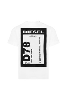 Diesel Baby Boys White Cotton T-Shirt