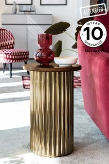 Gold Ribbed Side Table