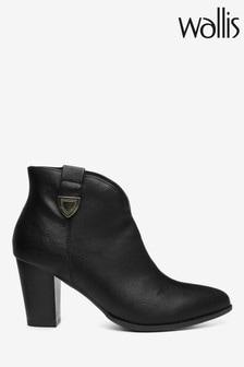 Wallis Angelina Black Cowboy Tab Leather Stack Boots