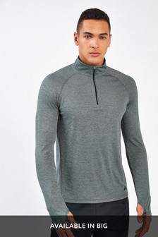 Grey Sports Zip Neck Top