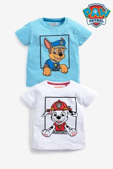 Blue And White 2 Pack PAW Patrol Short Sleeve T-Shirts (6mths-8yrs)