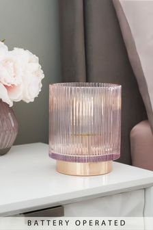 Battery Operated Ribbed Table Lamp
