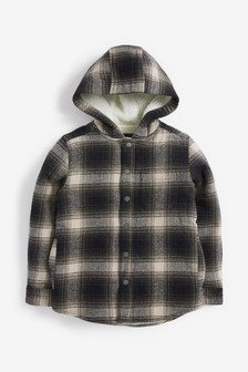 Monochrome Check Hooded Borg Lined Shacket (3-16yrs)