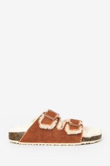 Tan Suede Cosy Lined Slippers