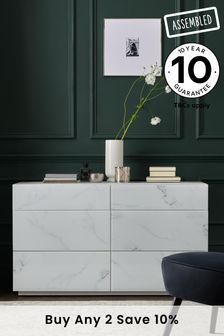 Marble Sloane Glass 6 Drawer Wide Chest