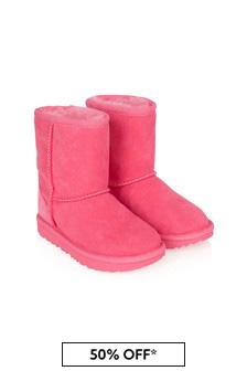 Girls Pink Leather Classic Boots