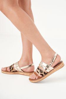 Animal and Tan Regular/Wide Fit Forever Comfort® Cork Effect Flatform Sandals