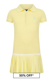 Ralph Lauren Kids Girls Yellow Cotton Dress