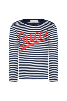 Baby Boys Navy Cotton Striped Logo T-Shirt
