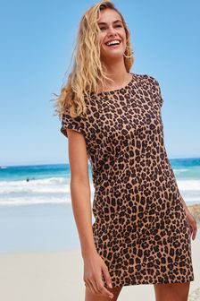 Animal Relaxed Capped Sleeve Tunic Dress
