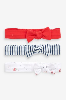 Red/White/Navy 3 Pack Bow Headbands (0-18mths)