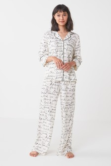 Oatmeal Script Woven Visocse Button Through Pyjamas