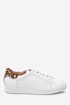 White Signature Leather Lace-Up Trainers