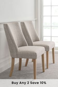 Chunky Weave Mid Natural Set of 2 Wolton Dining Chairs With Natural Legs