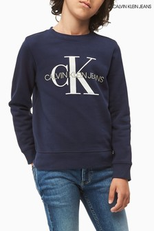 Calvin Klein Blue Jeans Monogram Logo Sweatshirt