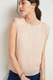 Champagne Sequin Shell Top
