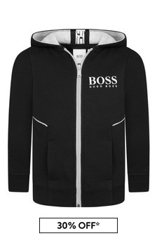 Boys Black Cotton Zip Up Top
