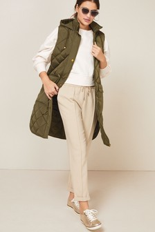 Khaki Quilted Longline Gilet