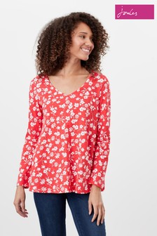 Joules Red Harbour Light Swing V-Neck Jersey Top
