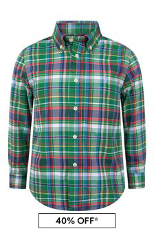 Boys Green/Navy Check Shirt