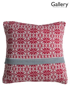 Gallery Direct Red Knitted Fairisle Pattern Cushion