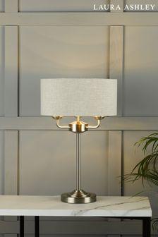 Laura Ashley Chrome Sorrento 3 Light Table Lamp With Shade