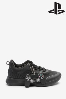 Black PlayStation™ Elastic Lace Trainers