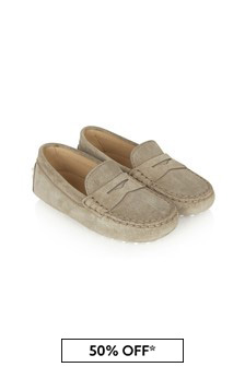 Tods Kids Beige Leather Loafers