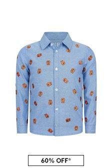 قميص قطن أزرق أولادي