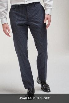 Blue Regular Fit Stripe Suit: Trousers
