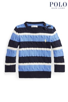 Ralph Lauren Blue Stripe Knit Jumper
