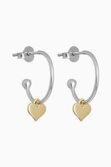 Sterling Silver And Rose Gold Plated Heart Drop Hoop Earrings