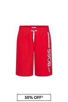 BOSS Boys Red Swim Shorts