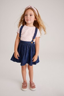 Denim Dark Blue Skirt, T-Shirt And Headband Set (3mths-7yrs)