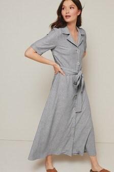 Stripe Linen Mix Shirt Dress