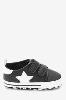 Black Double Strap Star Pram Shoes (0-24mths)
