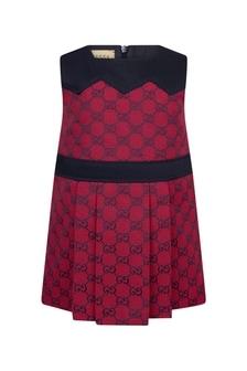 فستان من مزيج القطن أحمر للبنات البيبي