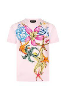 Versace Girls Pink Cotton T-Shirt