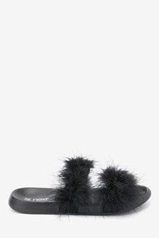 Black Open Toe Marabou Sliders