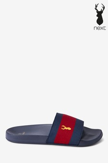 Red/Navy Fabric Stripe Sliders